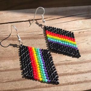 Rainbow diamond dangle earrings 🌈
